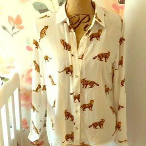 Tops - Jungle cat white button down NWT shirt